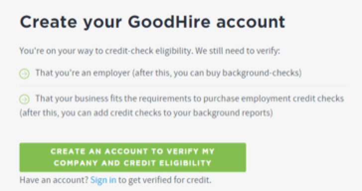 How to create a GoodHire account to order employment credit checks