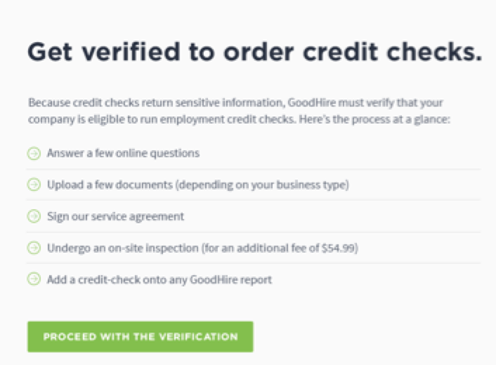 Answering questions during GoodHire Employment Credit Check verification